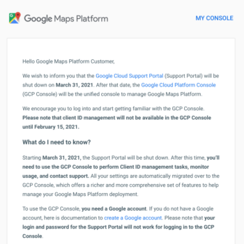 Migrate to GCP email Google Maps Platform